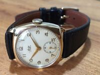 Vintage mens solid 9ct 9k 375 gold swiss watch
