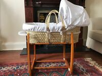 Moses basket with rocking stand- barely used