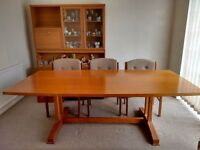 Solid wood dining table, 6 chairs and display unit