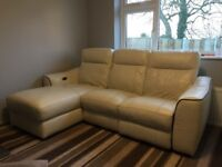 Cream leather sofa and chair with full electric recliners