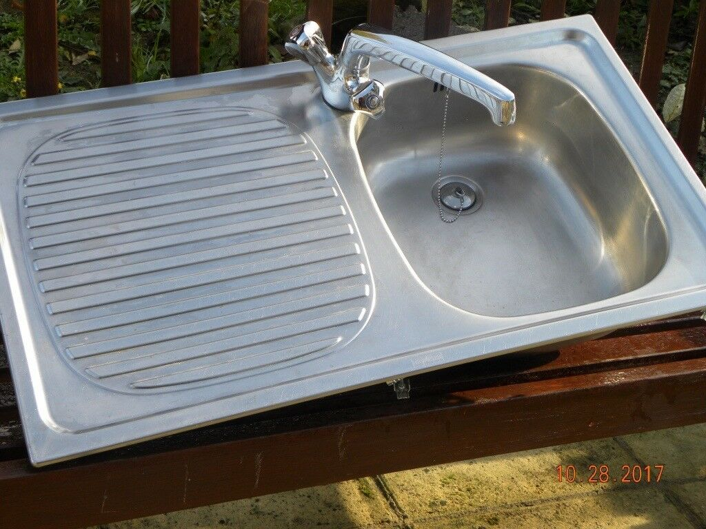 STAINLESS STEEL SINGLE BOWL INSET SINK COMPLETE WITH MIXER TAP AND ...