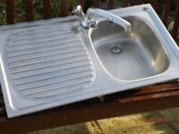 STAINLESS STEEL SINGLE BOWL INSET SINK COMPLETE WITH MIXER TAP AND PLUG. BARGAIN