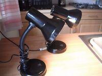 2 black metal desk lamps