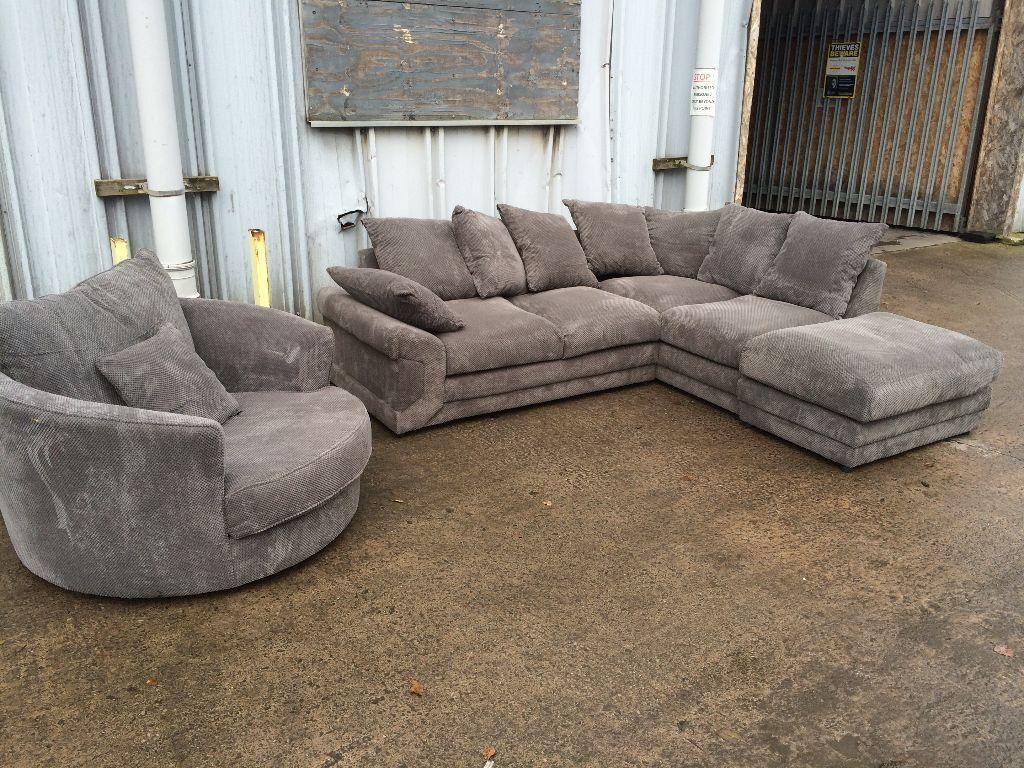 Plush Sofa Brand New Grey Plush Corner Sofa With Swivel