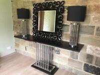 Side Table, 2 x Lamps & Mirror RRP £4000+. ***REDUCED FOR QUICK SALE***