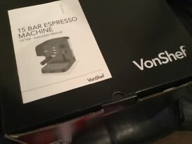 Vonshef coffee machine, unused still in box, not been opened..unwanted gift