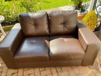 Brown leather small and large sofas