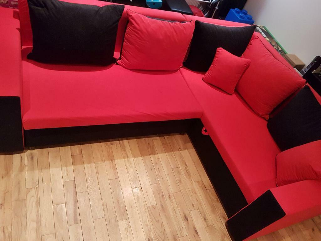 L Shape Corner Sofa Settee Red Black Sofa Bed In Sunderland