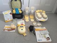 Medela Freestyle Double Electric Breastpump with Calma and extra storage items