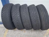 5 x Goodyear Wrangler 4 x 4 tyres - almost brand new Toyota, Mitsubishi, Land Rover