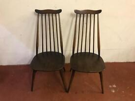Pair of ercol spindle back chairs