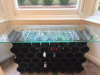 Attractive, modular wine rack with glass top - just 10% of purchase price!