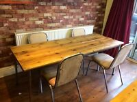 RECLAIMED WOOD DINING TABLE - 4 INDUSTRIAL METAL CHAIRS - CAN DELIVER LOCALLY
