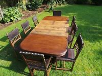 FRENCH ANTIQUE OAK EXTENDING HENRY II TABLE AND 8 EMBOSSED LEATHER CHAIRS