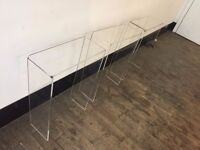 Art gallery style designer acrylic shelves for boutique-style shop