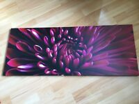 WALL CANVAS WITH A VERY RICH CERISE COLOUR CHRYSANTHEMUM .STYLE IS STILL LIFE