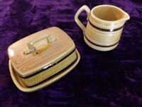 Vintage Retro Sadler Butter Dish & Milk Jug