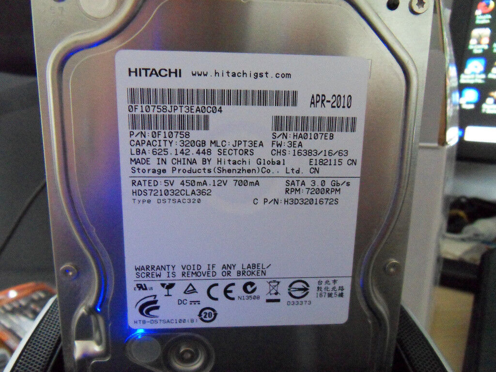 Used 320gb 35 Inch Sata Hard Drive As Pictured Bath Ba2 In Hdd 320 Gb Wd Blue
