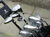 MENS RIGHT HAND GOLF CLUBS IN CART BAG WITH PUSH TROLLEY