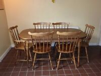 Vintage Mahogany wood dinning table (153 x 84w x 73cm ) & 6 solid wood chairs ( 2 carvers)