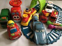 Big toys bundle - cars, train, police car, garbage truck, torch, minion