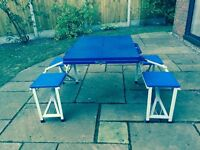 FOLDING TABLE WITH 4 SEATS IDEAL FOR EXTRA SEATING FOR CHRISTMAS DINNER, PICNICS, PATIO OR PLAYTABLE