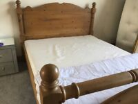 Solid Pine king size bed with new mattress.Very good condition. BARGAIN!!! £110
