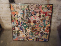 Green Brothers vintage card table with collage finish