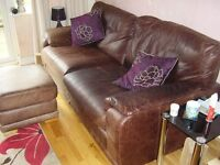 LEATHER SOFA CHAIR AND STOOL BROWN