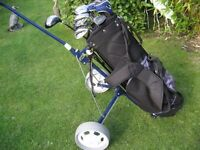 GOLF CLUBS RAM CONCEPT IN BAG WITH TITLEIST TROLLEY