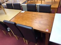 Pine table and 4 leather chairs