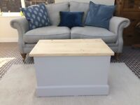 Solid pine ottoman, blanket box, storage chest painted vintage cream with stripped top