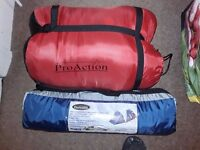 Never used , 2 man tent and 1 sleeping bag (500gsm) Pro-Action