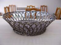 Vintage Silver coloured Woven Metal Wire Fruit Basket