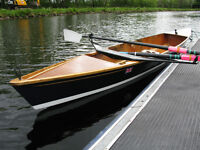 classic wooden rowing boat.