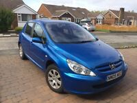 Peugeot 307 1.6 S 5dr 2005, Only 48900 miles, Blue, MOT UNTIL AUG 2017