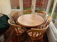 Solid Pine Table & Six Chairs