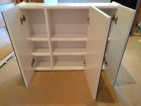 Mirror fronted three door white BATHROOM CABINET with fixings