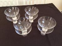 Glass Round Dessert Dishes with Stem Base x 8