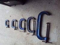 G clamps. Set of 5.