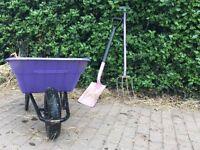Lilac wheel barrow