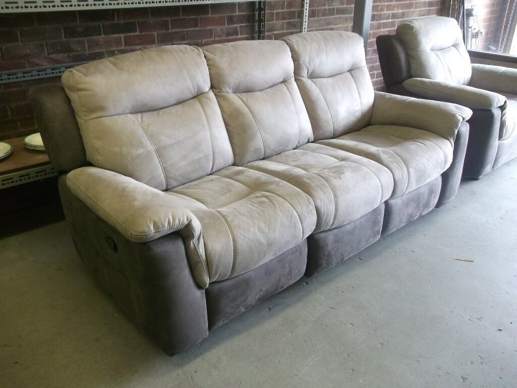 Leather Suede Sofa 3 Seater 2 Grey