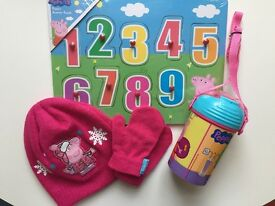 Peppa Pig Hat & Gloves, Jigsaw and Beaker - Brand New