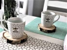 Natural birch wood mug pads