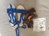 Blue and brown sandals. 2 pairs! NEW