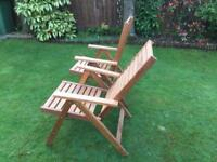 2 Wooden folding/reclining garden chairs in very good condition