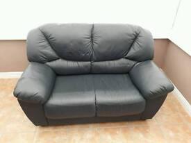 2 Seater, Blue leather sofa