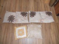 Selection of brown velvet effect cushions 40cm x 10cm covers and cushions from pet smoke free house
