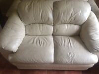 Cream leather suite. 3, 2 and a one seater