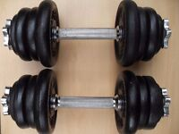 Weights Pair 12.5kg York Cast Iron Dumbbells = 25kg